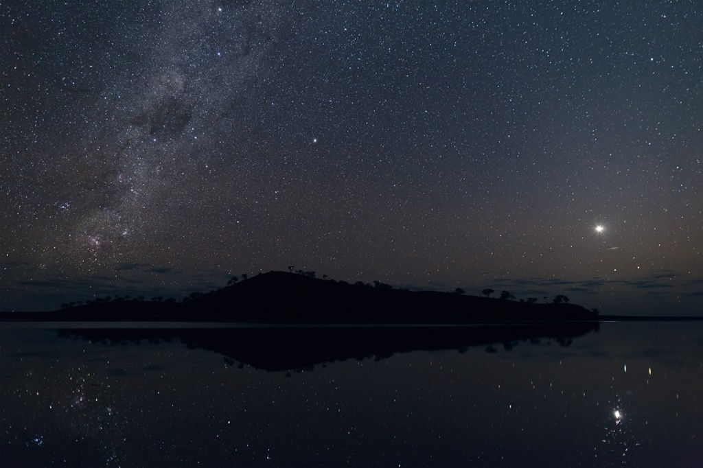 lake ballard with moon and venus