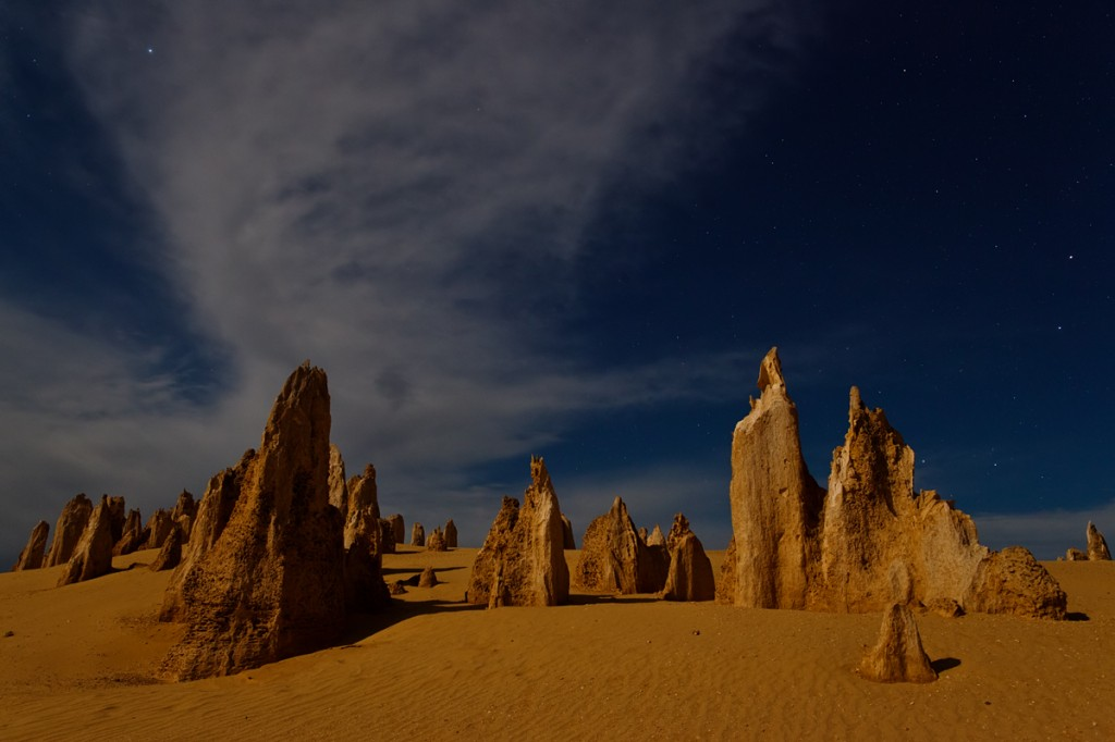 pinnacles by full moonlight