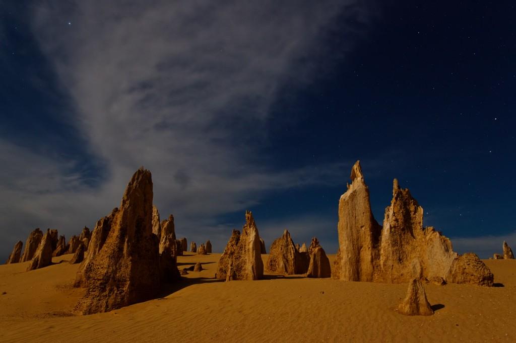 pinnacles by full moonlight